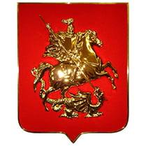 Герб Москвы пластик на бархате с деревянным щитом