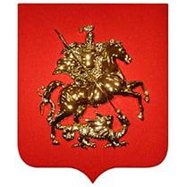 Герб Москвы пластиковый с деревянным щитом