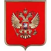 Герб России в золотой пластиковой рамке на бархате