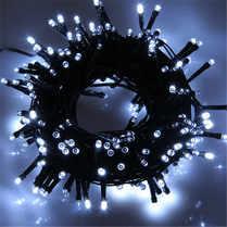 Светодиодная гирлянда мерцающая 10м белая, провод черный