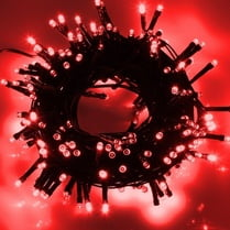 Светодиодная гирлянда 100LED красная 10м провод черный