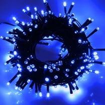 Светодиодная гирлянда 100LED синяя 10м провод черный