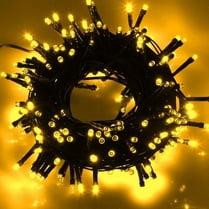 Светодиодная гирлянда 100LED желтая 10м провод черный
