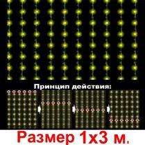 LED-световой занавес «Водопад» 1х3м, прозрачный провод
