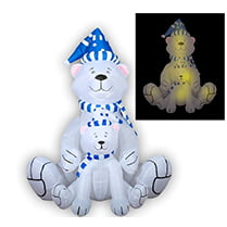 Надувная фигура «Белые медведи новогодние» 1,8 м