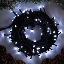 Светодиодная гирлянда 100LED белая 10м IP44 черный провод