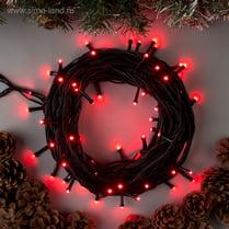 Светодиодная гирлянда 100LED красная 10м IP44 черный провод