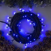 Светодиодная гирлянда 100LED синяя 10м IP44 черный провод