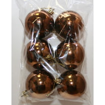 Шары новогодние коричневые d-5 см глянец