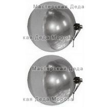 Шары новогодние d-10 см, цвет серебро, глянец