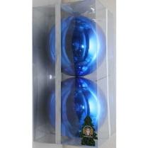 Шары новогодние d-10 см, цвет синий, глянец