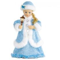 Поющая Снегурочка со свечей в голубом наряде