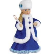 Поющая Снегурочка со свечей в синем наряде
