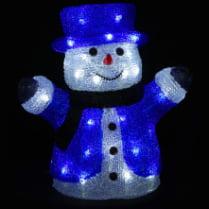 3D-LED Фигура «Снеговик в цилиндре», 30 см