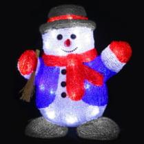 3D-LED Фигура «Снеговик с веником», 30 см