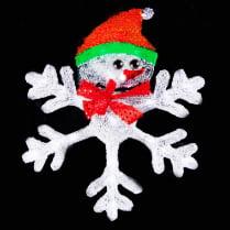 2D LED-фигура «Снежинка со Снеговиком», 46.5 см