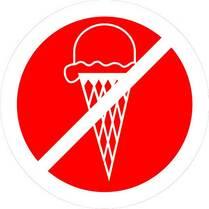 Знак «Вход с мороженным запрещен»