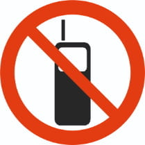 Знак «Запрещается пользоваться мобильным телефоном»