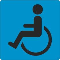 Знак «Доступность для инвалидов в креслах-колясках» на голубом фоне