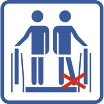 Знак «Не ставьте ноги вплотную к краю экскалатора»