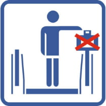Знак «Не ставить чемодан на перила экскалатора»
