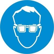 Знак «Работать в защитных очках»