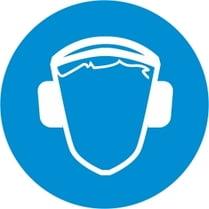 Знак «Работать в защитных наушниках»
