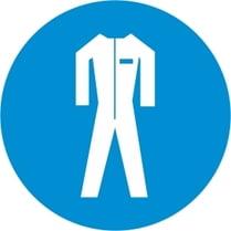 Знак «Работать в защитном костюме»