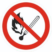 Знак «Запрещается пользоваться открытым огнем»