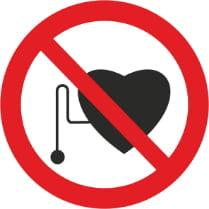 Знак «Запрещается работа (присутствие) людей со стимуляторами сердечной деятельности»