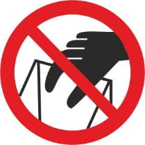 Знак «Запрещается брать руками. Сыпучая масса (Непрочная упаковка)»
